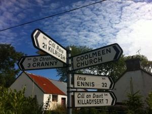Coolmeen Cross sign
