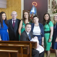 Enda with Baby Ruby on her baptism. Also in the photograph Marie, Tommy, Louise, Margaret, Bernie and Claire... missing from pic Sheila Haugh was on The Lourdes Pilgrimage as a carer