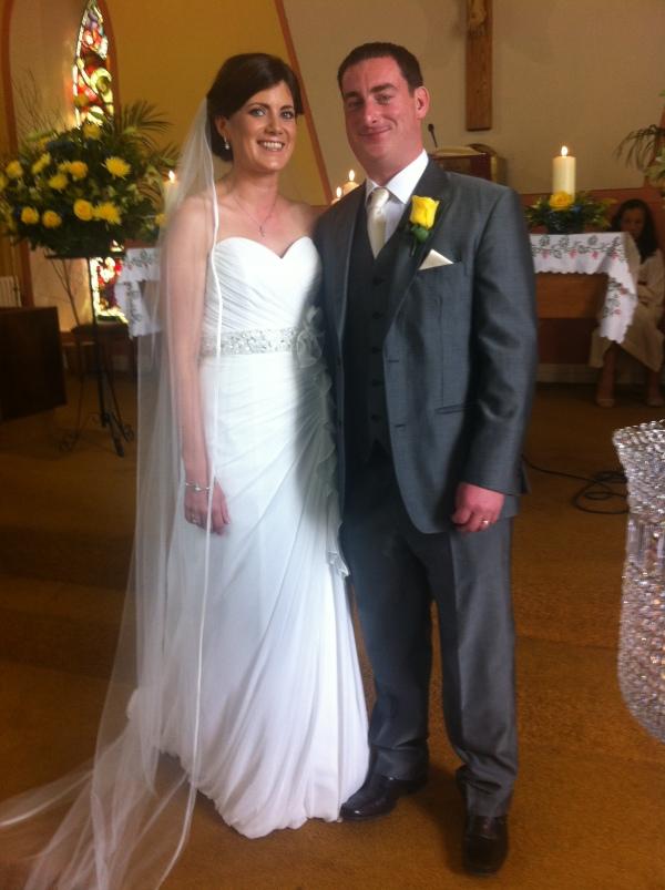 Yvonne Hehir, Carrowcreigh East and Thomas O'Connor, Kilmaley on their wedding day.