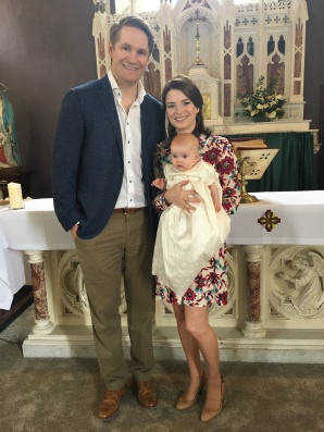 Aoibhín Mary Browne on her baptism day with her parents Assumpta and Andrew.