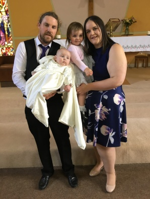 Adam Michael Quinn on his baptism day with his parents Sheila and Seamus Quinn, Boloughera and sister Amy.