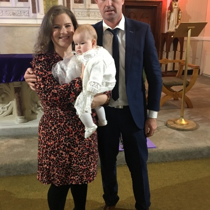 Chloe Mae McMahon with her parents Enda and Deirdre on her baptism day.